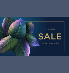 summer banner with bright palm leaves vector image