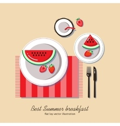 Summer breakfast flat lay vector image