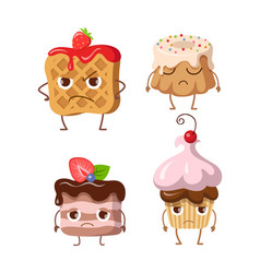 Sweets set of belgian waffle and three cupcakes vector
