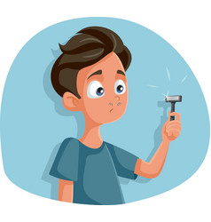 Teen boy holding razor for first shave cartoon vector