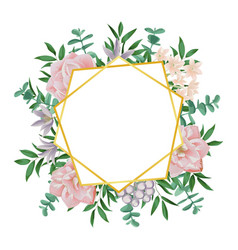template with gold geometric frame and pink vector image