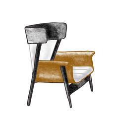 Trendy retro armchair flat vector