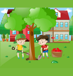two boys planting big tree in the garden vector image