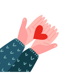 two hands holding a heart top view valentines day vector image