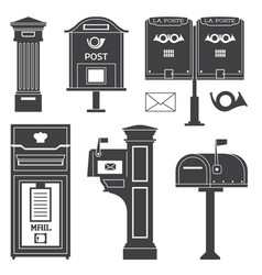 Vintage street mail posts and letterboxes vector