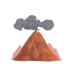 Volcano eruption with dust cloud vector