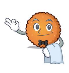 waiter cookies mascot cartoon style vector image