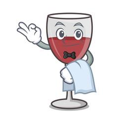 Waiter wine mascot cartoon style vector