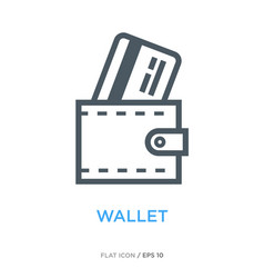 wallet with credit card line flat icon vector image