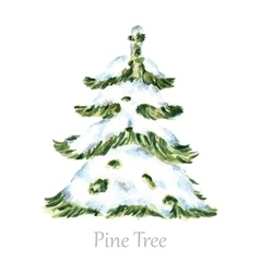 Watercolor snow christmas tree vector