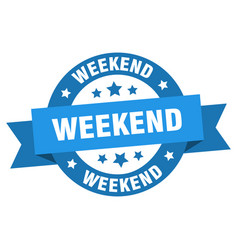 weekend ribbon weekend round blue sign weekend vector image