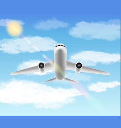 white aero plane flying in a sky vector image