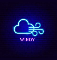 Windy neon label vector