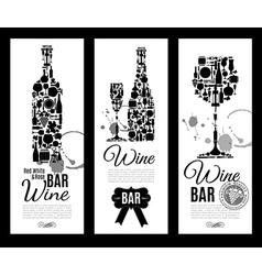 Wine bar menu cardBanners set vector