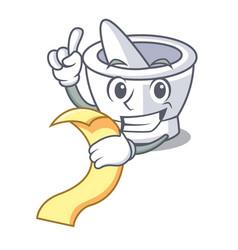 with menu mortar mascot cartoon style vector image