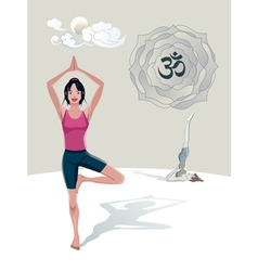 Woman Practicing Yoga Tree Asana vector
