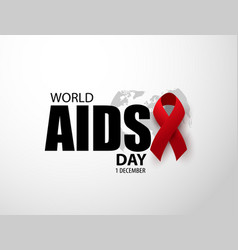 world aids day awareness red ribbon december 1 vector image