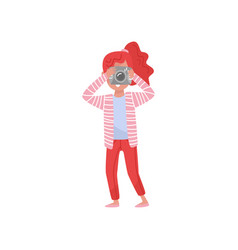 young red-haired girl with making pictures with vector image