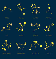 zodiac constellations in kawaii style vector image