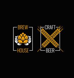 beer logo set design background vector image vector image
