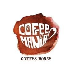Cup of coffeewatercolor splashLettering vector image
