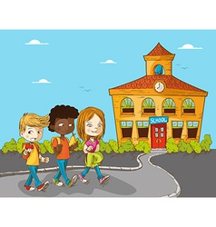 Education back to school cartoon kids vector image vector image