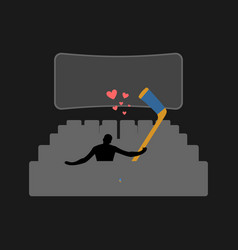 lover hockey guy and hockey stick in movie vector image vector image