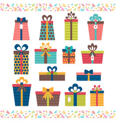 set of different gift boxes flat design birthday vector image vector image