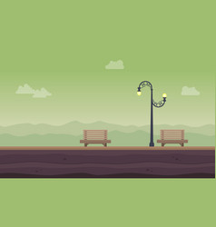 chair and street lamp landscape background vector image