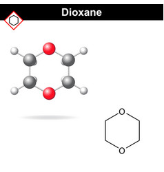 chemical structure and model of dioxane vector image vector image