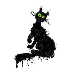 Halloween cat ink silhouette animal kitty isolated vector image vector image