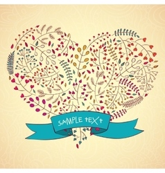 Heart floral design Hand-Drawn vector image vector image