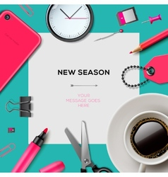 New season template with office supplies vector image vector image