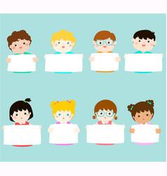 smiley kids hold blank banner vector image