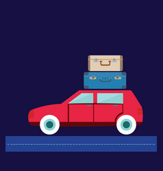 Travel car car with luggage vector