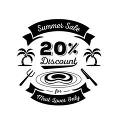 twenty percent discount for meat lover logo vector image vector image