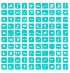 100 sneakers icons set grunge blue vector image vector image