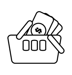Basket shopping money currency online line vector