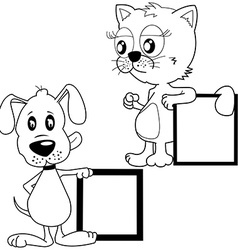 black and white cat and puppy holding banners vector image