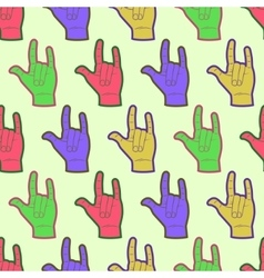 Rock hands colorful seamless pattern vector image