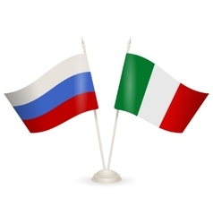 Table stand with flags of Russia and Italy vector image vector image