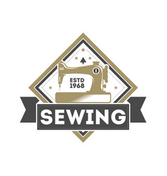 tailor sewing studio label with sewing machine vector image vector image