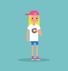 young blond girl chewing a chocolate donut flat vector image