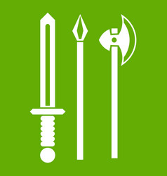 ancient weapon sword pick and axe icon green vector image