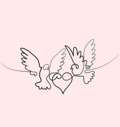 flying two pigeons with heart logo vector image vector image