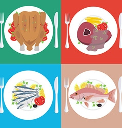 Food dishes set vector image