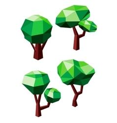 Geometric polygonal green trees icons vector image