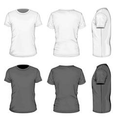 Men white and black short sleeve t-shirt vector image vector image