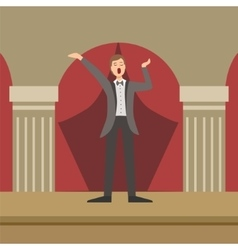 Opera singer performing in classic theatre vector
