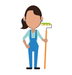 painter woman with overalls and roller vector image